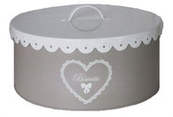 "Round ""Biscuits"" tin with scalloped edge cover 8""Dx4""H"