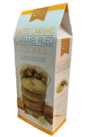 Simply Indulgent Gourmet Salted Caramel filled cookies 170 gr., 12/cs  Soft salted caramel cookies with a gooey caramel center