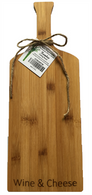 "Wine bottle shaped bamboo cutting board with ""Wine & Cheese"" engraved 6""x0.4""x16"""