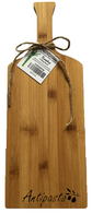 "Wine bottle shaped bamboo cutting board with ""Antipasto"" engraved 6""x0.4""x16"""