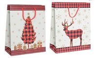 "RW Christmas (Tree/Reindeer) paper gift bags 2 styles 7""x4""x9""H"