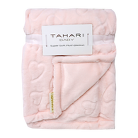 "TAHARI super soft plush blanket with hearts design 30""x40"" - PINK"