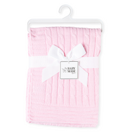 "100% Cotton Cable-knit Blanket 30""x40""- PINK"