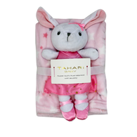 "TAHARI Flannel fleece Blanket & BUNNY Buddy 100% Polyester, Blanket: 30""x40"", Toy: 12""H"