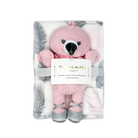"TAHARI Flannel fleece blanket & FLAMINGO Buddy 100% Polyester, Blanket: 30""x40"", Toy: 12""H"