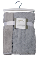 "Fluffy Rabbit fleece blanket - GREY 100% Polyester, 30""x36"", Star Shape Pattern"