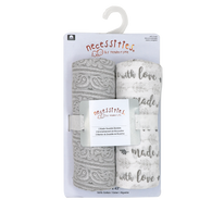 "2-Pack Muslin Swaddle Blankets - GREY Made with Love 43""x43"", 100% Cotton"