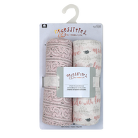 "2-Pack Muslin Swaddle Blankets - PINK Made with Love 43""x43"", 100% Cotton"