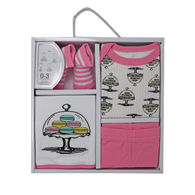4-PC Macaron Cotton Box Set  Set includes: Bodysuit, Pant, Bib & Socks  100% Cotton, 0-3M