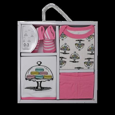 4-PC Macaron Cotton Box Set  Set includes: Bodysuit, Pant, Bib & Socks  100% Cotton, 0-3M