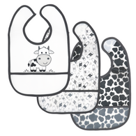 3-Pack Cow Theme Peva Bibs: BLACK 100% PEVA