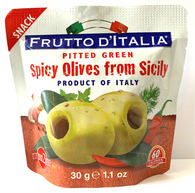 Frutto D'Italia pitted green spicy olives from Sicily 30 gr., 10/cs