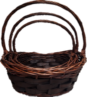 """Set of 3 Oval willow baskets with a handle  L: 18""""x14""""x5""""H1x8""""H2x17""""OH,  M: 16""""x12""""x4.5""""H1x7""""H2x15""""OH,  S: 14""""x10""""x4""""H1x16""""x13""""OH"""