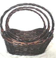 """Medium in a Set of 3 Oval willow baskets with a handle M: 16""""x12""""x4.5""""H1x7""""H2x15""""OH"""