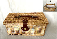 """Picnic basket with lid - Fabric lined 16""""x10""""x6.2""""H"""