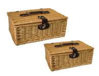 """Set of 2 Picnic baskets with lid - Fabric lined L: 18""""x12""""x8""""H, S: 16""""x10""""x6.2""""H"""