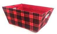 "Small rectangular Tartan basket with matching fabric liner 11""x8""x5""H"