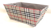 """Small rectangular Grey, White & Red plaid basket with matching fabric liner 11""""x8""""x5""""H"""