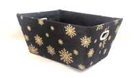 """Small rectangular black & gold snowflakes basket with matching fabric liner 11""""x8""""x5""""H"""