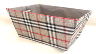 """Rectangular Grey, White & Red plaid basket with matching fabric liner 13""""x10""""x6""""H"""