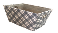"Rectangular Grey & White plaid basket with matching fabric liner 13""x10""x6""H"