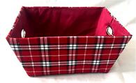 "Large rectangular Plaid basket with matching fabric liner 16""x13""x8""H"