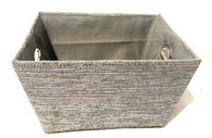 """Large Rectangular Grey with glitter basket with matching fabric liner 16""""x13""""x8""""H"""