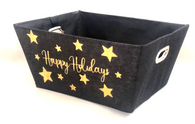 """Rectangular Black with Happy Holidays in Gold basket with matching fabric liner 13""""x10""""x6""""H"""