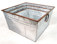 """Set of 3 Square galvanized metal containers with handles S: 10.2""""x10.2""""x6.1""""H, M: 12.2""""x12.2""""x7.2""""H, L: 14.2""""x14.2""""x8.1""""H"""