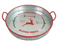 """Round Galvanized tray with red trim and handles with reindeer design 16""""D (17.5"""" inc handles)x3.6""""H"""