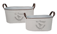 """S/2 Oval """"Bee Happy"""" metal containers with handles S: 12""""x6""""x5""""H   L: 14""""x8""""x6""""H"""
