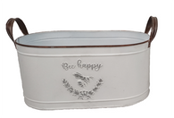 """Largest in a S/2 Oval """"Bee Happy"""" metal containers with handles L: 14""""x8""""x6""""H"""
