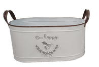 """Smallest in a S/2 Oval """"Bee Happy"""" metal containers with handles S: 12""""x6""""x5""""H"""