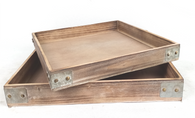 """Smallest in Set of 2 large square trays with iron brackets S: 16""""X16""""X2""""H"""