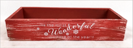 """Christmas themed long Red crate style tray 16""""X6""""X3""""H"""
