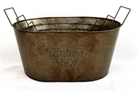 """Largest in Set of 3 metal VINTAGE 1867 containers with handles L: 18""""x12""""x7.5""""x9""""OH"""