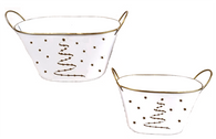 Set of 2 White oval metal containers with Golden tree & stars theme