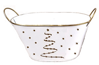 """Largest in Set of 2 White Oval metal containers with a Golden tree and stars theme L: 12.5""""x6.6""""x6""""Hx7""""OH"""