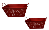 """Set of 2 Red rectangular metal containers with """"Holiday Cheer"""" S: 9.5""""x6""""x5.2""""H, L: 11""""x7""""x5.5""""H"""