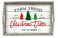 """Rectangular rustic white wash tray with Christmas Trees theme & side handles 20""""x14""""x2.5""""H"""