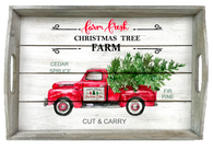 """Rectangular rustic white wash tray with Christmas Truck theme & side handles 20""""x14""""x2.5""""H"""
