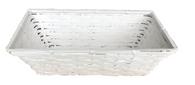 """White rectangular bamboo basket - Large 14""""x7.2""""x6""""H"""
