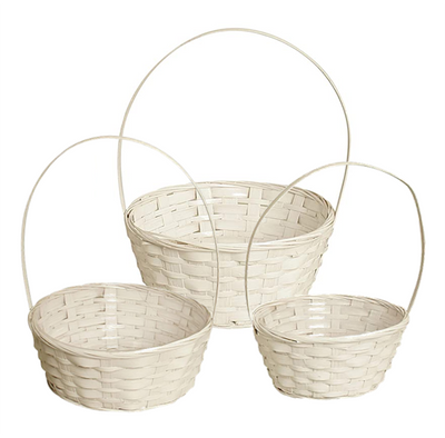 """White set of 3 Round bamboo baskets with handle S: 8""""Dx4""""H, M: 10""""Dx4""""H, L:12""""Dx4""""H"""