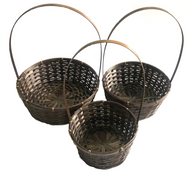 """Brown set of 3 Round bamboo baskets with handle S: 8""""Dx4""""H, M: 10""""Dx4""""H, L:12""""Dx4""""H"""
