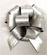 """5"""" Foil-look Pull Bows - 50 bows/case - SILVER"""