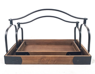 """Set of 2 large trays with iron brackets & handles S: 16""""X7.5""""X10""""H, L: 19""""X10.5""""X12""""H"""