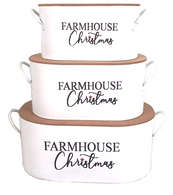 """Set of 3 metal Farmhouse Christmas containers with lids S: 10""""x5""""x4.8"""", M: 12""""X6.5""""X5.3""""H, L: 14.2""""x8""""x5.7"""