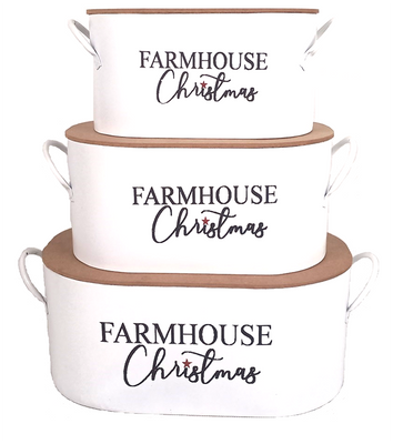 """Largest in a Set of 3 metal Farmhouse Christmas containers with lids  L: 14.2""""x8""""x5.7"""