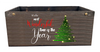 """Wood crate with metal brackets and Wonderful Time of the Year theme 14""""X8""""X6""""H"""