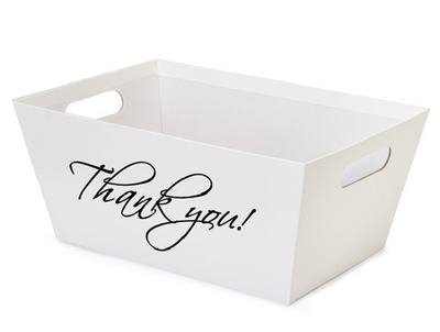 """Small Market tray - White with Thank You! 9.2""""x7.2""""x3.6""""H"""